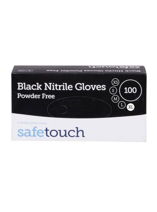 Box of Black Nitrile Disposable Gloves Powder Free (100)